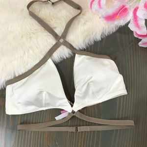 Victoria secret white and tan criss cross top